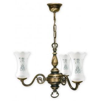 LEMIR 423/W3 | RetroPlus Lemir csillár lámpa 3x E14 bronz, fehér