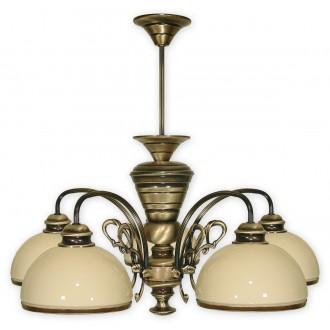 LEMIR 515/W5 | Delta Lemir csillár lámpa 5x E27 bronz, krémszín