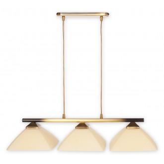 LEMIR 973LP/W3 | Krzyzak Lemir függeszték lámpa 3x E27 sárgaréz, krémszín