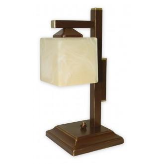 LEMIR O1068D/L1 BR | KostkaBR Lemir asztali lámpa 40cm vezeték kapcsoló 1x E27 barna, arany antikolt , krémszín