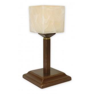 LEMIR O1068G/L1 BR | KostkaBR Lemir asztali lámpa 35cm vezeték kapcsoló 1x E27 barna, arany antikolt , krémszín