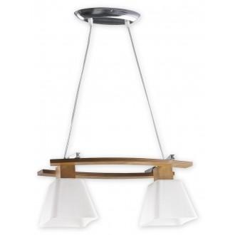 LEMIR O1472 DB | Dreno Lemir függeszték lámpa rövidíthető vezeték 2x E27 króm, tölgy, fehér