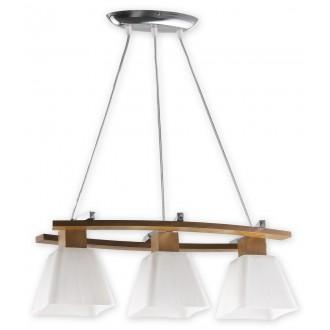 LEMIR O1473 DB | Dreno Lemir függeszték lámpa rövidíthető vezeték 3x E27 króm, tölgy, fehér