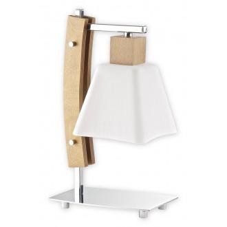LEMIR O1478 DB | Dreno Lemir asztali lámpa 34cm vezeték kapcsoló 1x E27 króm, tölgy, fehér