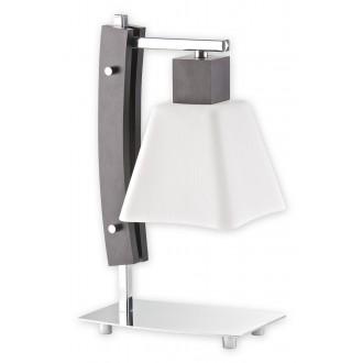 LEMIR O1478 WG | Dreno Lemir asztali lámpa 34cm vezeték kapcsoló 1x E27 króm, wenge, fehér