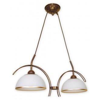 LEMIR O1482 BR | FlexL Lemir függeszték lámpa 2x E27 barna, arany antikolt , fehér