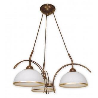 LEMIR O1483 BR | FlexL Lemir csillár lámpa 3x E27 barna, arany antikolt , fehér