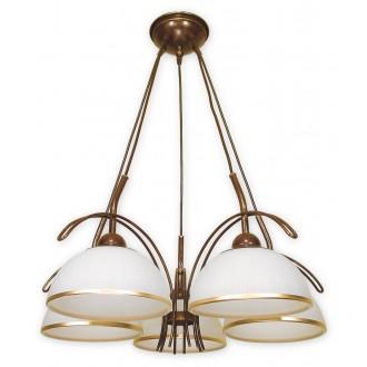 LEMIR O1485 BR | FlexL Lemir csillár lámpa 5x E27 barna, arany antikolt , fehér