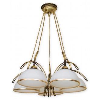 LEMIR O1485 PAT | FlexL Lemir csillár lámpa 5x E27 bronz, fehér