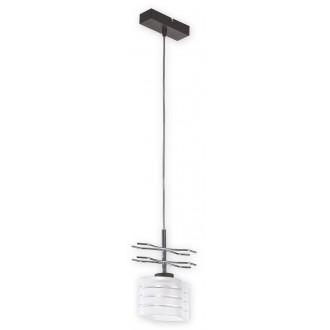 LEMIR O1517 RW | Kobra Lemir függeszték lámpa 1x E27 króm, antikolt wenge, opál