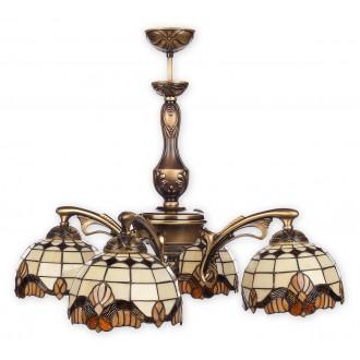 LEMIR O2064 W4 PAT | Vitrus Lemir csillár lámpa 4x E27 bronz, többszínű