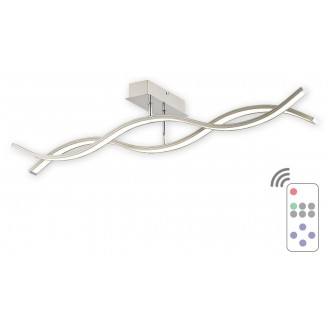 LEMIR O2512 P2 SAT + PILOT-NW | Linea-LED Lemir mennyezeti lámpa távirányító szabályozható fényerő 1x LED 3840lm 4000K szatén króm, króm, fehér