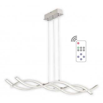 LEMIR O2513 W3 SAT + PILOT-NW | Linea-LED Lemir függeszték lámpa távirányító állítható magasság, szabályozható fényerő 1x LED 5760lm 4000K szatén króm, króm, fehér