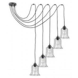 LEMIR O2725 W5 CZA | Dzwonek Lemir függeszték lámpa rövidíthető vezeték 5x E27 matt fekete