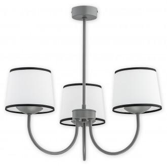 LEMIR O2793 W3 SZA | Lume Lemir csillár lámpa 3x E27 matt szürke, fehér, fekete