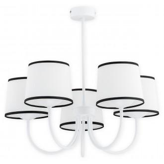LEMIR O2795 W5 BIA | Lume Lemir csillár lámpa 5x E27 matt fehér, fehér, fekete