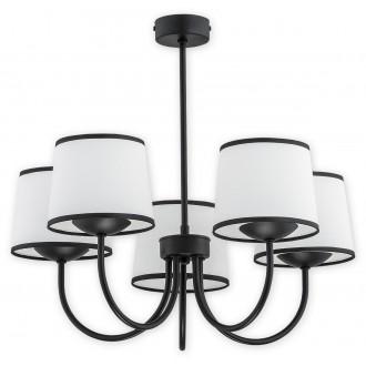 LEMIR O2795 W5 CZA | Lume Lemir csillár lámpa 5x E27 matt fekete, fehér, fekete