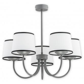 LEMIR O2795 W5 SZA | Lume Lemir csillár lámpa 5x E27 matt szürke, fehér, fekete