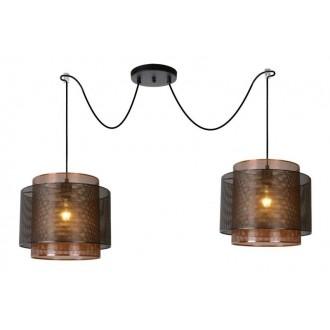 LUCIDE 02404/02/30 | Orrin Lucide függeszték lámpa rövidíthető vezeték 2x E27 fekete, barna