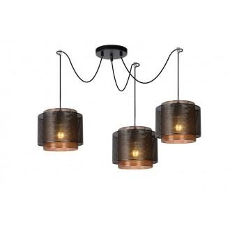 LUCIDE 02404/03/30 | Orrin Lucide függeszték lámpa rövidíthető vezeték 3x E27 fekete, barna