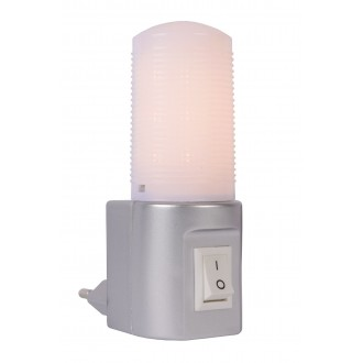 LUCIDE 22202/01/36 | Led-Night-Light Lucide éjjelifény lámpa kapcsoló 1x LED 50lm 2700K ezüst, opál