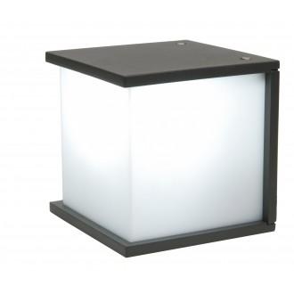 LUTEC 5184601118 | Box-Cube Lutec fali lámpa 1x E27 IP44 antracit szürke, opál