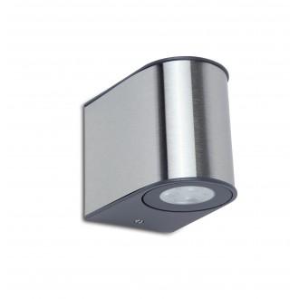 LUTEC 5189002118 | Gemini Lutec fali lámpa 1x LED 500lm 4000K IP54 ezüstszürke, átlátszó