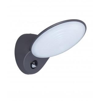 LUTEC 5189602118 | Tona Lutec falikar lámpa mozgásérzékelő, fényérzékelő szenzor - alkonykapcsoló 1x LED 600lm 3000K IP44 antracit szürke, opál