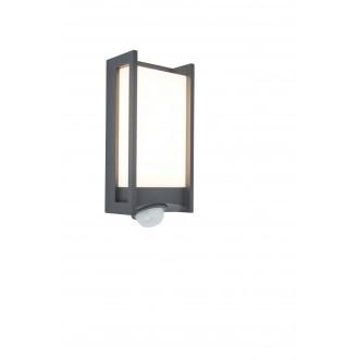 LUTEC 5193002118 | Qubo Lutec fali lámpa mozgásérzékelő, fényérzékelő szenzor - alkonykapcsoló elforgatható alkatrészek 1x LED 800lm 3000K IP54 antracit szürke, opál