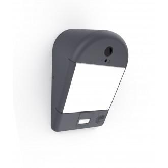 LUTEC 5194901118 | Camera_Light-Mimo Lutec kamerás lámpa fali mozgásérzékelő, fényérzékelő szenzor - alkonykapcsoló hangszóró, mikrofon, szabályozható fényerő, WiFi kapcsolat 1x LED 1200lm 3000K IP54 sötét szürke, opál