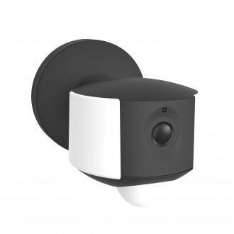 LUTEC 5198801330 | Camera_Light-Ara Lutec kamerás lámpa fali mozgásérzékelő, fényérzékelő szenzor - alkonykapcsoló hangszóró, mikrofon, szabályozható fényerő, elforgatható alkatrészek, WiFi kapcsolat 1x LED 200lm 4000K IP44 sötét szürke, opál