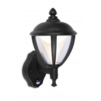 LUTEC 5260103012 | Unite Lutec falikar lámpa mozgásérzékelő, fényérzékelő szenzor - alkonykapcsoló 1x LED 330lm 3000K IP44 fekete, átlátszó