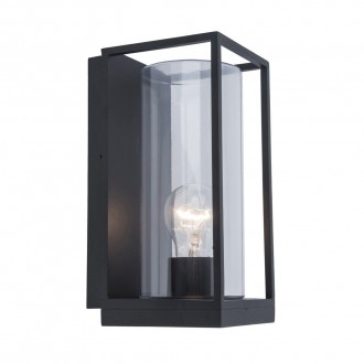 LUTEC 5288803012 | Flair Lutec fali lámpa 1x E27 IP44 matt fekete, átlátszó