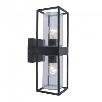 LUTEC 5288804012   Flair Lutec falikar lámpa 2x E27 IP44 matt fekete, átlátszó