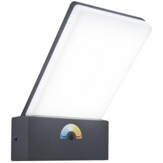 LUTEC 5289001118 | Pano Lutec falikar lámpa szabályozható fényerő, állítható színhőmérséklet 1x LED 1200lm 3000 <-> 5000K IP54 sötétszürke, opál