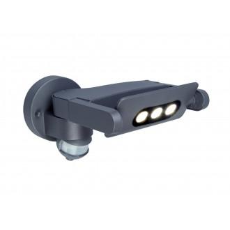 LUTEC 5614404118 | Mini-LedspoT Lutec falikar lámpa mozgásérzékelő, fényérzékelő szenzor - alkonykapcsoló elforgatható alkatrészek 1x LED 605lm 4000K IP54 antracit szürke