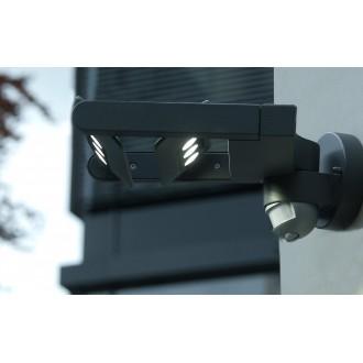 LUTEC 5614405118 | Mini-LedspoT Lutec falikar lámpa mozgásérzékelő, fényérzékelő szenzor - alkonykapcsoló elforgatható alkatrészek 2x LED 1210lm 4000K IP54 antracit szürke