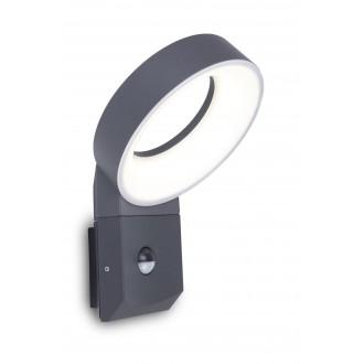 LUTEC 5616304118 | Meridian Lutec falikar lámpa mozgásérzékelő, fényérzékelő szenzor - alkonykapcsoló 1x LED 800lm 3000K IP54 antracit szürke