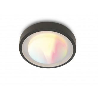 LUTEC 6335142118 | WiZ-Origo Lutec fali, mennyezeti WiZ okos világítás szabályozható fényerő, állítható színhőmérséklet, színváltós, elforgatható alkatrészek, WiFi kapcsolat 1x LED 1000lm 2200 <-> 6500K IP54 sötét szürke, opál