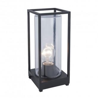 LUTEC 6588801012 | Flair Lutec asztali lámpa 27,2cm vezetékkel, villásdugóval elátott 1x E27 IP44 matt fekete, átlátszó