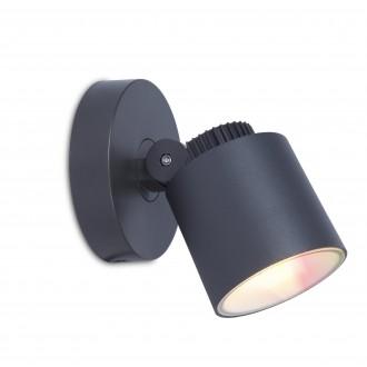 LUTEC 6609204118 | WiZ-Explorer Lutec spot WiZ okos világítás szabályozható fényerő, állítható színhőmérséklet, színváltós, elforgatható alkatrészek, WiFi kapcsolat 1x LED 430lm 2200 <-> 6500K IP54 sötét szürke