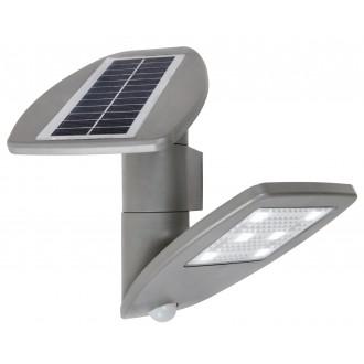 LUTEC 6901101000 | Pole_Drop_Bread_Zeta Lutec falikar lámpa mozgásérzékelő, kapcsoló napelemes/szolár, elforgatható alkatrészek 1x LED 200lm 4000K IP44 ezüstszürke, átlátszó