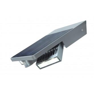 LUTEC 6901201000 | Tilly-LU Lutec falikar lámpa mozgásérzékelő, kapcsoló napelemes/szolár, elforgatható alkatrészek 1x LED 420lm 4000K IP44 ezüstszürke, átlátszó
