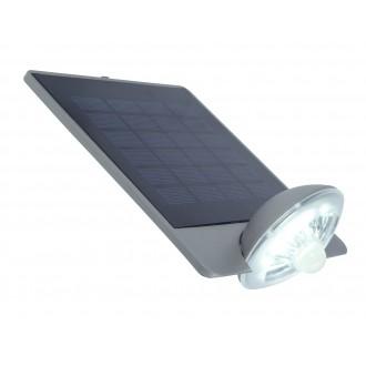 LUTEC 6901301337 | Pole_Drop_Bread_Zeta Lutec falikar lámpa mozgásérzékelő, kapcsoló napelemes/szolár, elforgatható alkatrészek 1x LED 240lm 4000K IP44 ezüstszürke, átlátszó