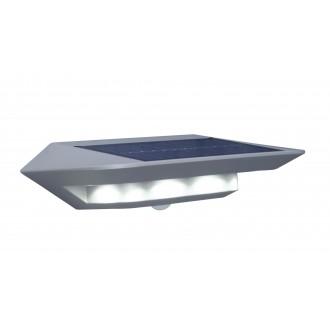 LUTEC 6901401337 | Ghost-Solar Lutec falikar lámpa mozgásérzékelő, kapcsoló napelemes/szolár 1x LED 260lm 4000K IP44 ezüstszürke, átlátszó