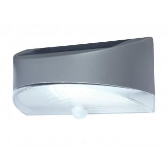 LUTEC 6901501000 | Pole_Drop_Bread_Zeta Lutec fali lámpa mozgásérzékelő, kapcsoló napelemes/szolár 1x LED 100lm 4000K IP44 ezüstszürke, átlátszó