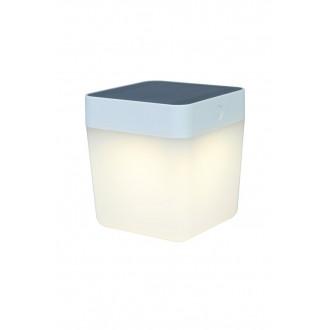 LUTEC 6908001331 | Table-Cube Lutec hordozható, asztali lámpa fényerőszabályzós érintőkapcsoló napelemes/szolár, szabályozható fényerő 1x LED 100lm 3000K IP44 fehér, opál