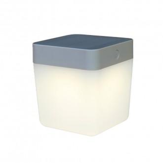 LUTEC 6908001337 | Table-Cube Lutec hordozható, asztali lámpa fényerőszabályzós érintőkapcsoló napelemes/szolár, szabályozható fényerő 1x LED 100lm 3000K IP44 ezüstszürke, opál