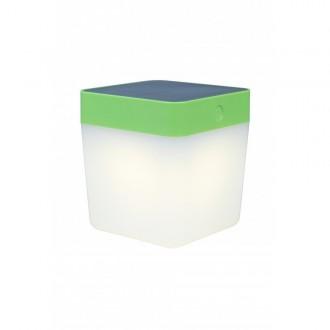 LUTEC 6908001339 | Table-Cube Lutec hordozható, asztali lámpa fényerőszabályzós érintőkapcsoló napelemes/szolár, szabályozható fényerő 1x LED 100lm 3000K IP44 zöld, opál