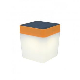 LUTEC 6908001340 | Table-Cube Lutec hordozható, asztali lámpa fényerőszabályzós érintőkapcsoló napelemes/szolár, szabályozható fényerő 1x LED 100lm 3000K IP44 narancs, opál